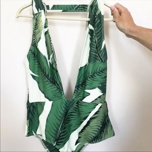 Palm leaf one piece swimsuit
